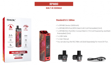 Парогенератор SMOK RPM80 3000mAh Pod-Mod Kit
